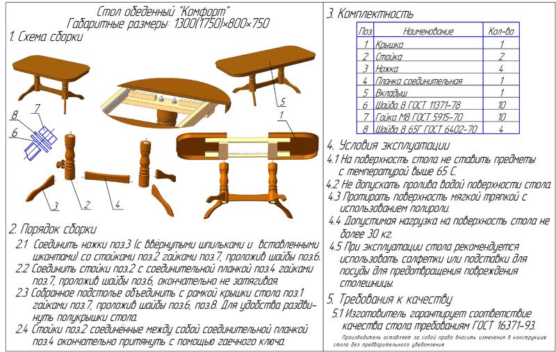 Стол складной обеденный своими руками чертеж